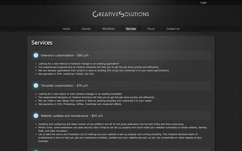 Screenshot of Services Page creative-solutions.net - Services - captured Oct. 30, 2014
