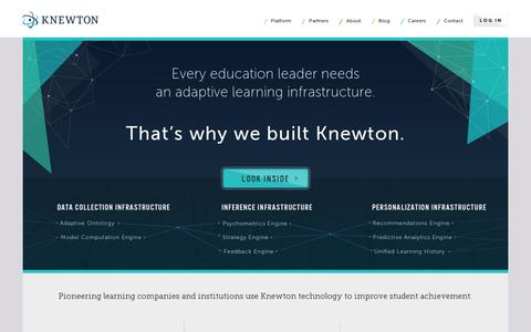 Screenshot of Home Page knewton.com - Knewton - The World's Leading Adaptive Learning Technology Provider - captured July 17, 2014