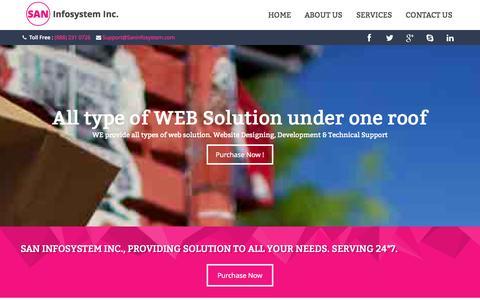 Screenshot of Home Page saninfosystem.com - SAN Infosystem Inc. - Home - captured Sept. 19, 2014