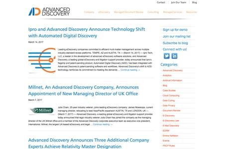 Screenshot of Press Page advanceddiscovery.com - Press Releases | Advanced Discovery - captured April 15, 2017