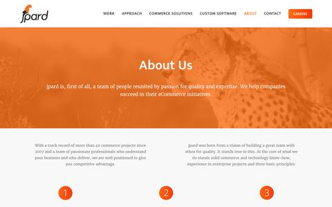Screenshot of About Page jpard.com - jpard Solutions   Company Profile   Enterprise Commerce Solutions - captured June 8, 2017