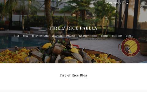 Screenshot of Blog fireandrice.us - FIRE & RICE PAELLA - Blog - captured Nov. 21, 2018