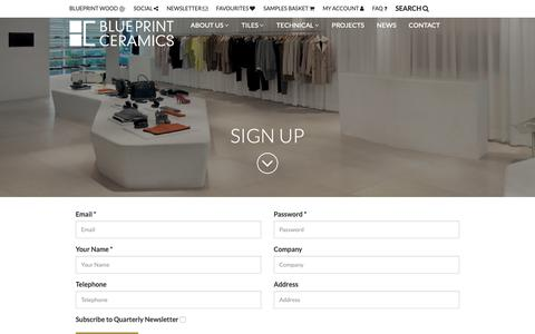 Screenshot of Signup Page blueprintceramics.com - Tile Suppliers Tile Supply UK Floor Tiles Ceramic Metro & Travertine Distributors - captured Dec. 9, 2018