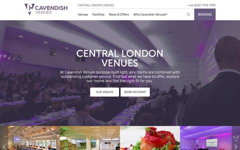Screenshot of Home Page cavendishvenues.co.uk - Conference Venues | Meeting Rooms | Training Centres London - Cavendish Venues - captured June 25, 2016