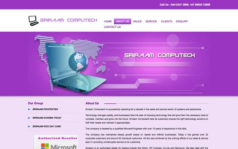 Screenshot of About Page sriraam.co.in - About Us - captured Oct. 6, 2014