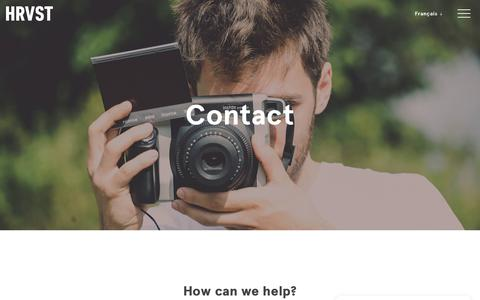 Screenshot of Contact Page gohrvst.com - HRVST | Contact - captured May 19, 2018