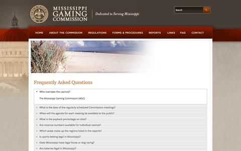 Screenshot of FAQ Page msgamingcommission.com - MS Gaming Commission | Frequently Asked Questions - captured Oct. 26, 2014