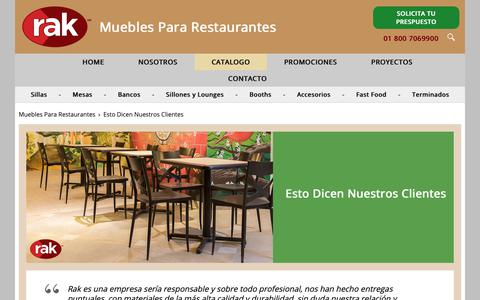 Screenshot of Testimonials Page rak.com.mx - RAK Mobiliario Para Restaurantes y Cafeterias - captured Oct. 19, 2018