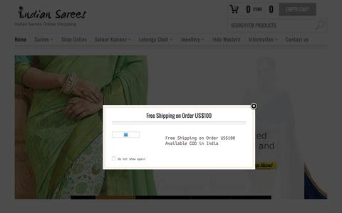 Screenshot of Home Page indiansaree-online.com - Indian Sarees Online | Buy Saree Online | Online Salwar Kameez - captured Sept. 2, 2016
