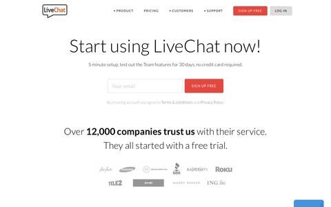Screenshot of Signup Page livechatinc.com - Sign up - captured Nov. 21, 2015