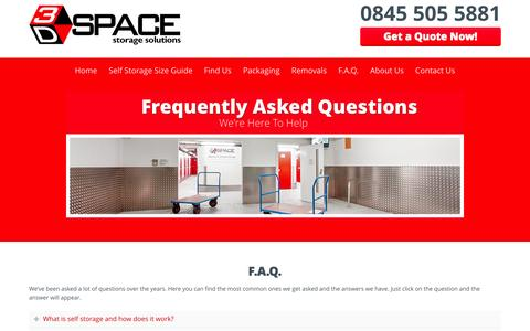 Screenshot of FAQ Page 3dspacestorage.co.uk - F.A.Q. | 3D Space Storage - captured Aug. 14, 2015