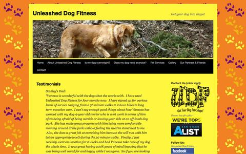 Screenshot of Testimonials Page unleasheddogfitness.com - Testimonials | Unleashed Dog FitnessUnleashed Dog Fitness - captured Oct. 9, 2014