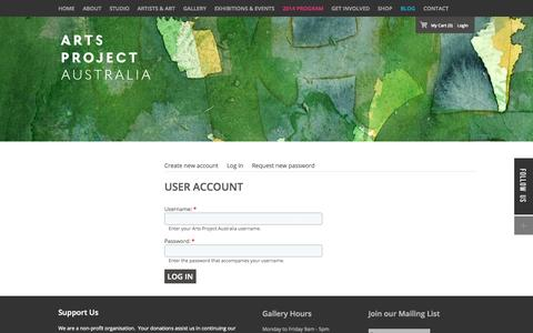 Screenshot of Login Page artsproject.org.au - User account | Arts Project Australia - captured Oct. 4, 2014