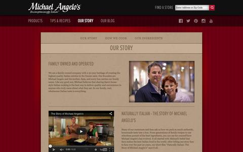 Screenshot of About Page michaelangelos.com - Authentic Italian Family Makes Amazing Frozen Italian Food | Michael Angelo's Foods - captured Feb. 13, 2016