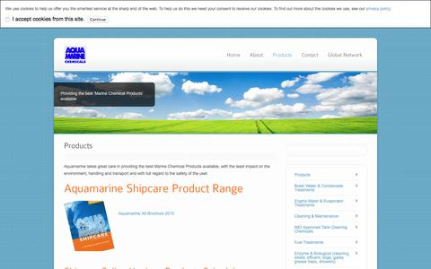 Screenshot of Products Page aquamarinechemicals.com - Products - captured April 1, 2016