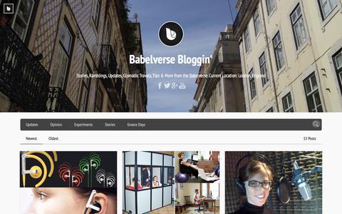 Screenshot of Blog babelverse.com - Babelverse Bloggin'   Stories, Ramblings, Updates, Glomadic Travels, Tips & More from the Babelverse. Current Location: London, England - captured Dec. 4, 2015