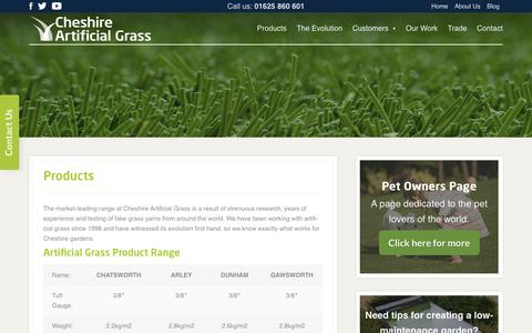 Screenshot of Products Page cheshireartificialgrass.co.uk - Artificial Lawns | Cheshire Artificial Grass - captured Sept. 8, 2016