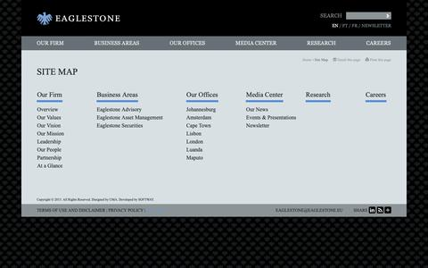 Screenshot of Site Map Page eaglestone.eu - Site Map - Eaglestone, financial advisory services, project finance, asset management and brokerage - captured Sept. 26, 2018