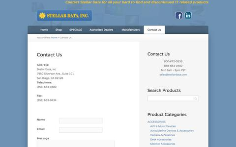 Screenshot of Contact Page stellardata.com - Contact Us | Stellar Data - captured Oct. 7, 2014