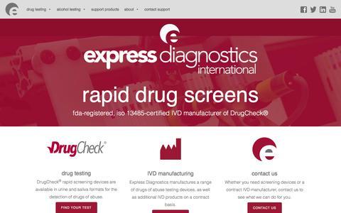 Screenshot of Home Page drugcheck.com - Express Diagnostics Int'l – ISO-certified IVD manufacturer - captured March 17, 2016
