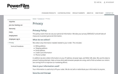Screenshot of Privacy Page powerfilmsolar.com - Privacy | PowerFilm Solar Inc. - captured Sept. 23, 2018
