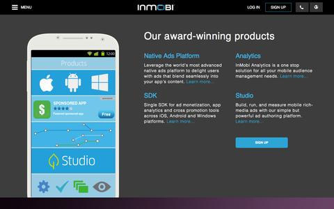 Screenshot of Products Page inmobi.com - Products and Resources for Mobile Advertising | SDK | Analytics | InMobi - captured Oct. 10, 2014
