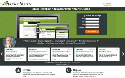 Screenshot of Landing Page perfectforms.com - Workflow Forms - PerfectForms - captured Sept. 30, 2016