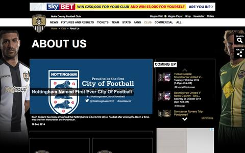 Screenshot of About Page nottscountyfc.co.uk - ABOUT US - captured Oct. 7, 2014
