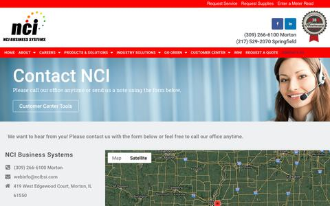 Screenshot of Contact Page ncibsi.com - D - Contact - NCI Business Systems - captured Nov. 15, 2018