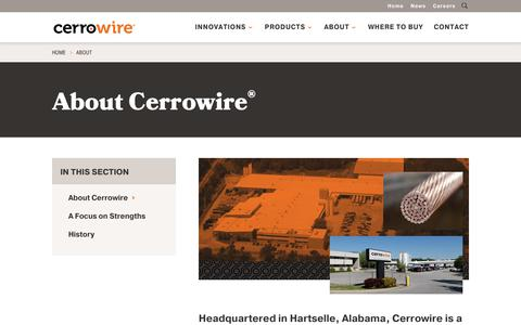 Screenshot of About Page cerrowire.com - About - CerroWire - captured Sept. 27, 2018