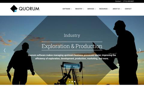 Screenshot of Home Page qbsol.com - Quorum Business Solutions | Oil and Gas Software - captured Oct. 3, 2015