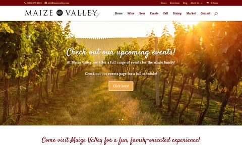 Screenshot of Home Page maizevalley.com - Ohio Wine | Ohio Wines - Maize Valley Winery - captured Sept. 16, 2015