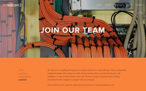 Screenshot of Jobs Page b2telecom.com - Careers — B2 Telecom - captured Sept. 30, 2014