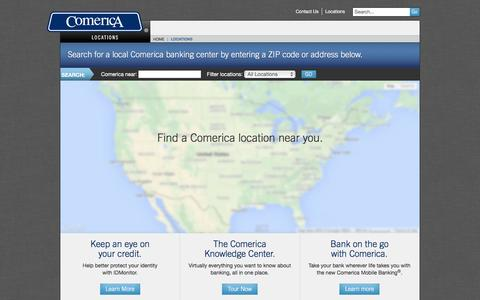 Screenshot of Locations Page comerica.com - Find a Comerica location near you. | Comerica - captured Feb. 24, 2017