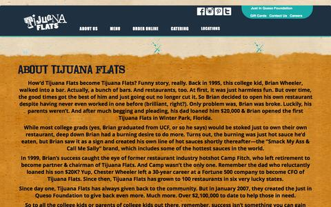 Screenshot of About Page tijuanaflats.com - About Tijuana Flats - Tijuana Flats - captured Feb. 1, 2016