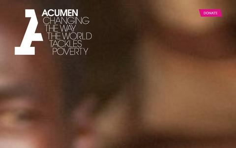 Screenshot of Home Page acumen.org - Acumen is a Bold New Way of Tackling Poverty - captured Sept. 19, 2014