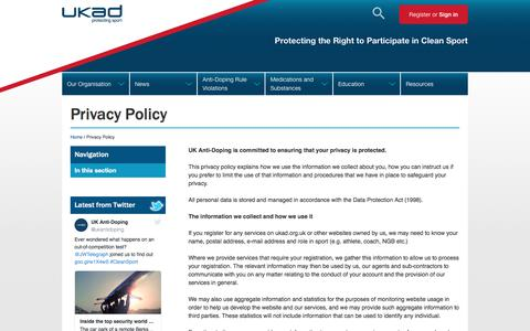 Screenshot of Privacy Page ukad.org.uk - Privacy Policy - captured Sept. 21, 2017