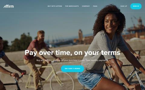 Screenshot of Home Page affirm.com - Affirm - captured Aug. 13, 2016