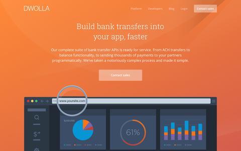 Screenshot of dwolla.com - Bank Transfer tools and API - captured Dec. 30, 2017