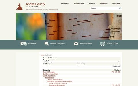 Screenshot of Contact Page anokacounty.us - Anoka County, MN - Official Website - captured April 24, 2017