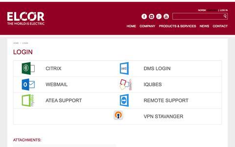 Screenshot of Login Page elcor.no - Login | Elcor - captured Oct. 28, 2014