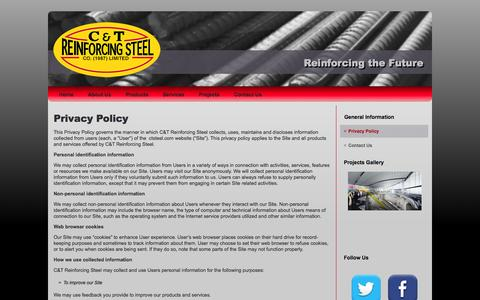Screenshot of Privacy Page ctsteel.com - Privacy Policy | C&T Reinforcing Steel - captured Oct. 1, 2014
