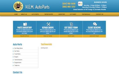 Screenshot of Testimonials Page hemautoparts.com - Testimonials | H.E.M. Auto Parts - captured Sept. 26, 2014