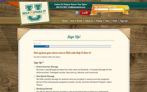 Screenshot of Signup Page helpustoreit.com - Summer Storage in Philadelphia - Help U Store ItHelp U Store It - captured Sept. 26, 2014
