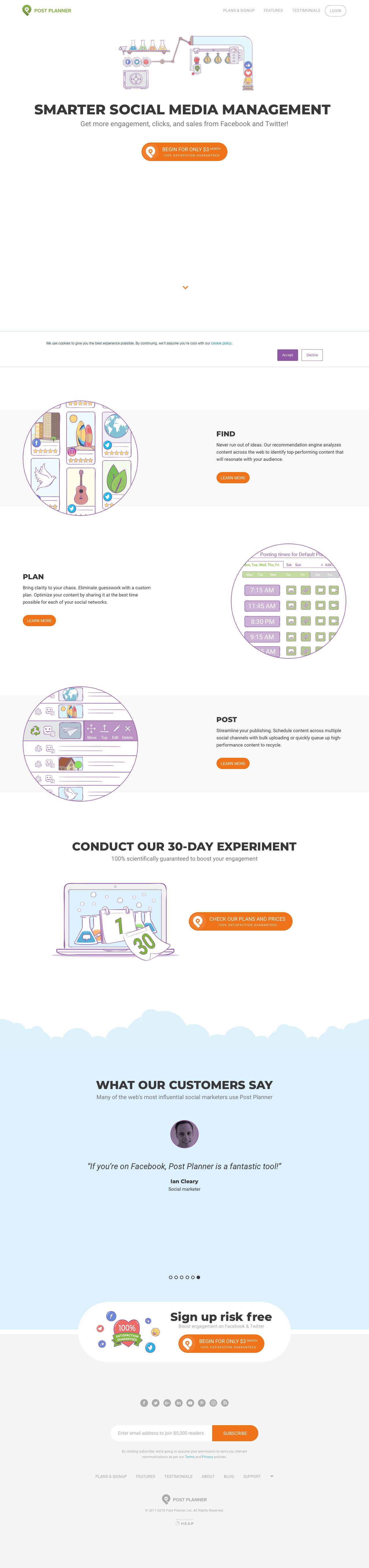 Screenshot of postplanner.com - Social Media Engagement App - captured June 27, 2018