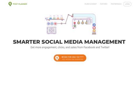 Screenshot of Home Page postplanner.com - Social Media Engagement App - captured June 27, 2018