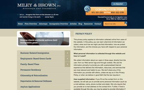 Screenshot of Privacy Page mileybrown.com - Privacy Policy | Miley & Brown, P.C. | Dallas, Texas - captured Oct. 6, 2014