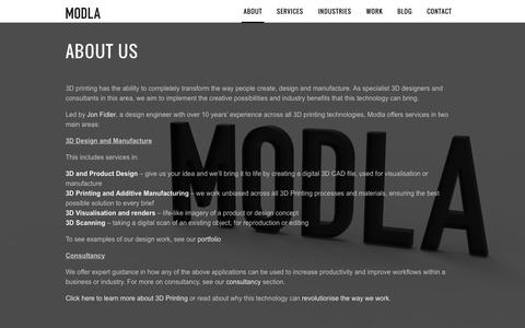 Screenshot of About Page modla.co.uk - Modla | Design Consultants in 3D PrintingModla | Creative Design in 3D Printing - captured Aug. 12, 2015