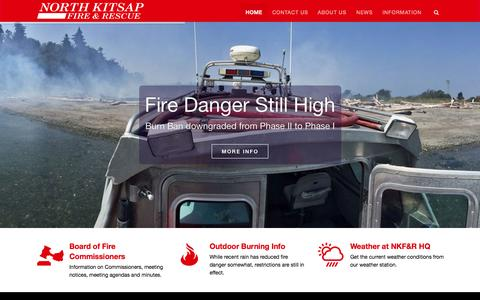 Screenshot of Home Page nkfr.org - North Kitsap Fire & Rescue - North Kitsap Fire & Rescue is proud to serve in the protection of lives and property - captured Sept. 12, 2015