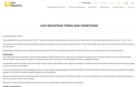 Screenshot of Terms Page lavi.com - Terms and Conditions - captured Sept. 27, 2018
